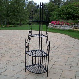 ea6f2cf80076 Oakland Living 60.25-In Black Corner Wrought Iron Plant Stand 5198 ...