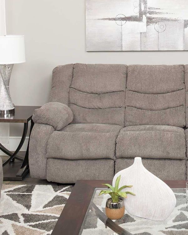 American Signature Furniture Going Out Of Business: Grey Reclining Sofa, Reclining
