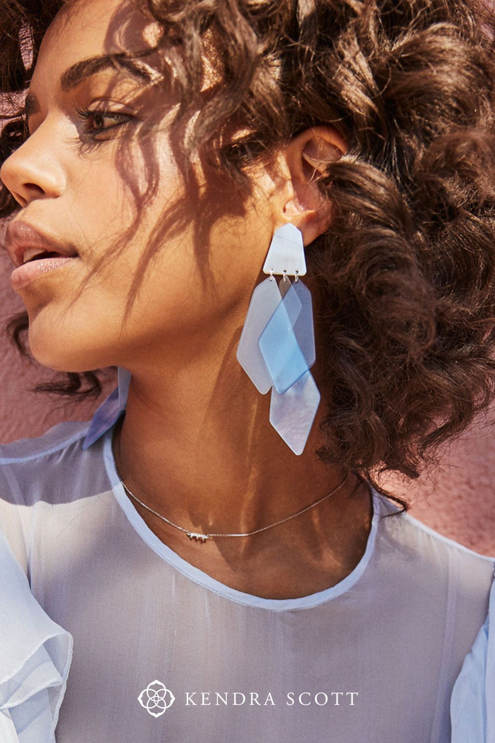 5d8e068881ba Shell and acrylic combine to create the Gracie Bright Silver Statement  Earrings in Sky Blue Mix