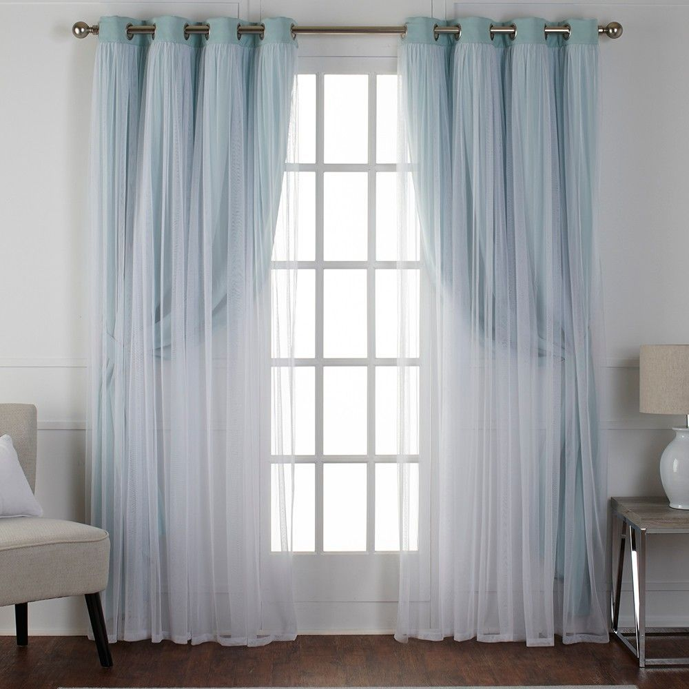 Caterina Layered Solid Blackout With Sheer Top Curtain Panels Aqua