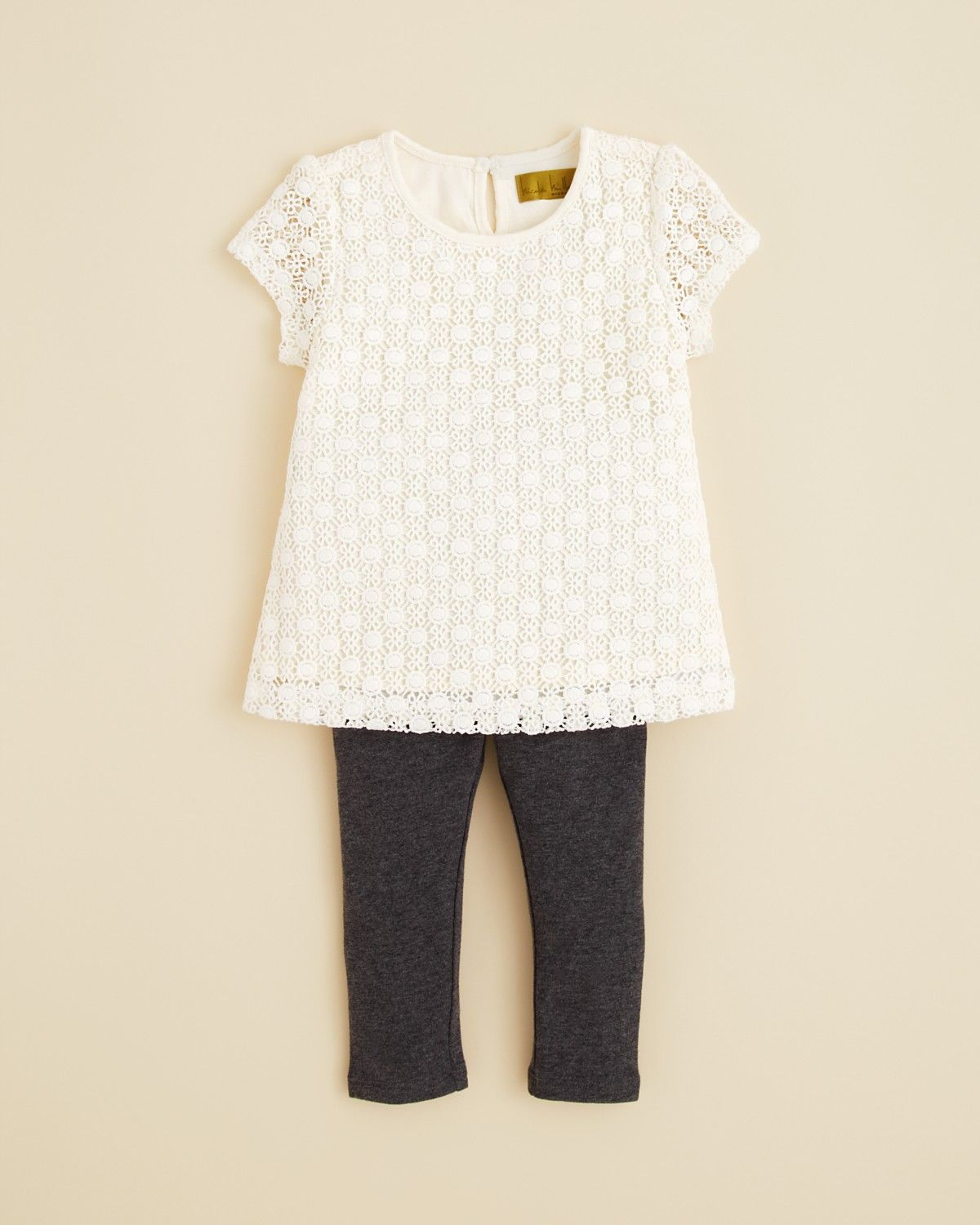 Nicole Miller Infant Girls' Knit Lace Top & Leggings Set - Sizes 12-24 Months | Bloomingdale's