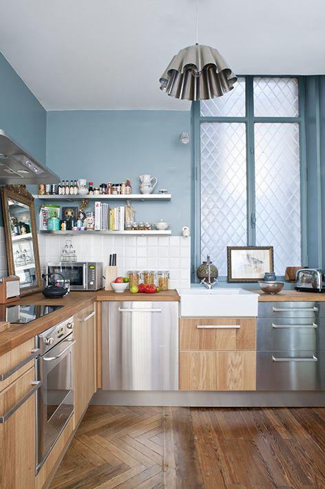 Appartement ancien rénové dans un style contemporain   Déco cuisine ...