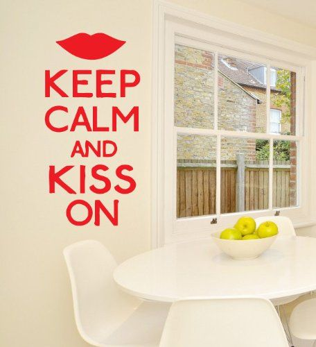 wall vinyl decal sticker art design keep calm and kiss on on wall stickers for hall id=55292