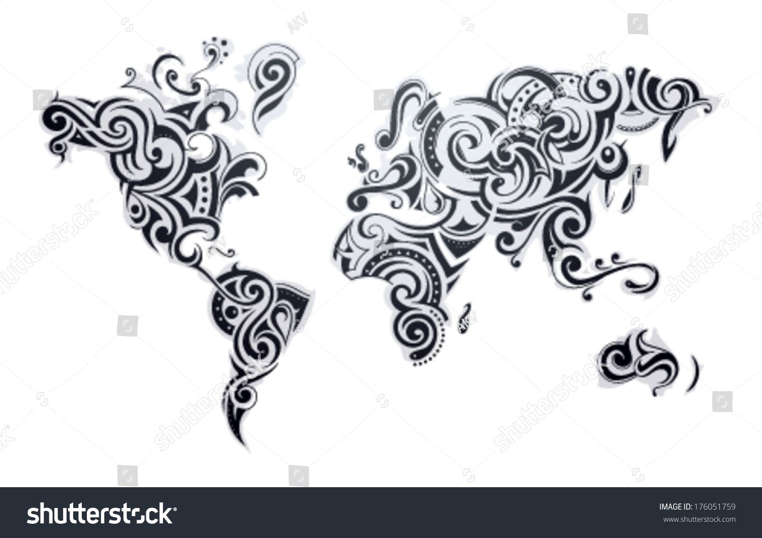World map tattoo our earth as one tribe concept illustration world map tattoo our earth as one tribe concept illustration gumiabroncs Images
