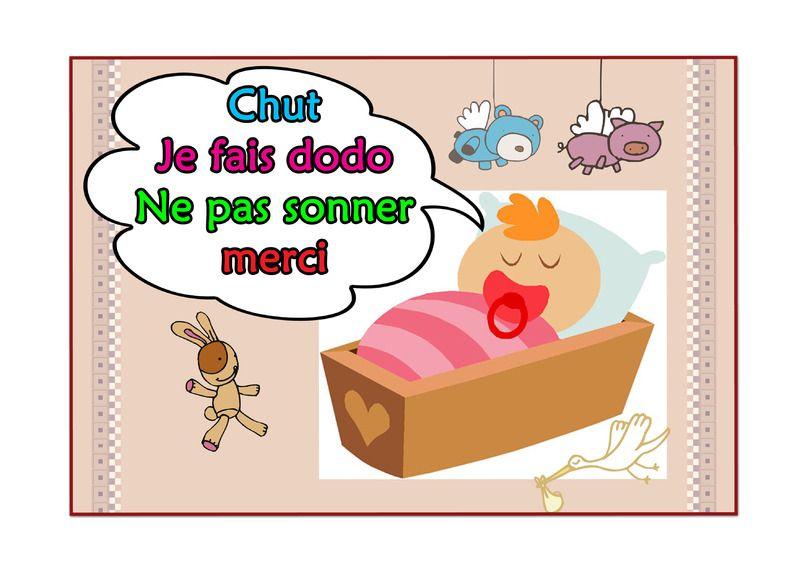 Affiches De Porte Chut Bébé Dort Ne Pas Sonner Merci Chut