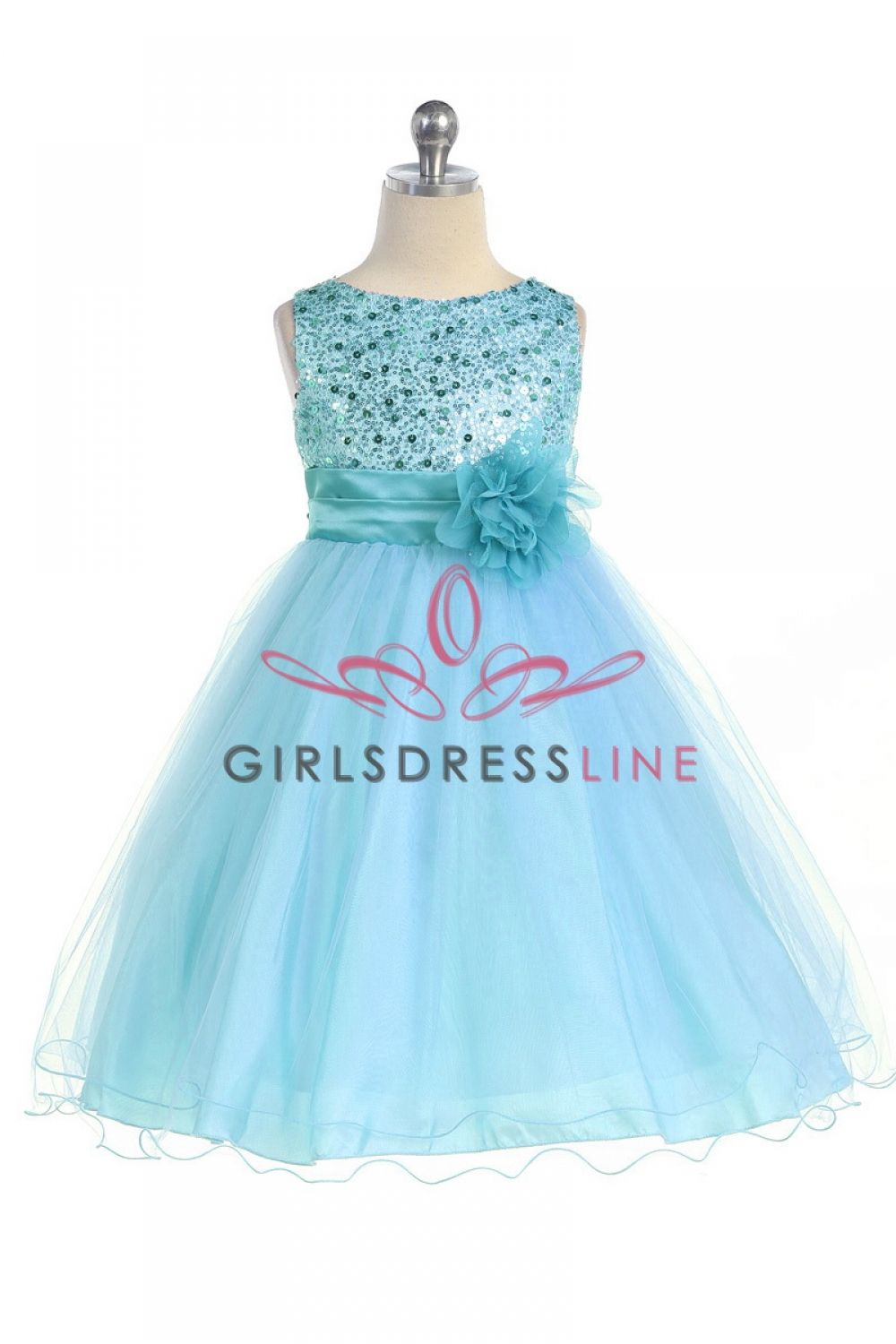 Gorgeous Aqua Sequined Round Neck Tulle Overlaid Girl Dress | Armor ...