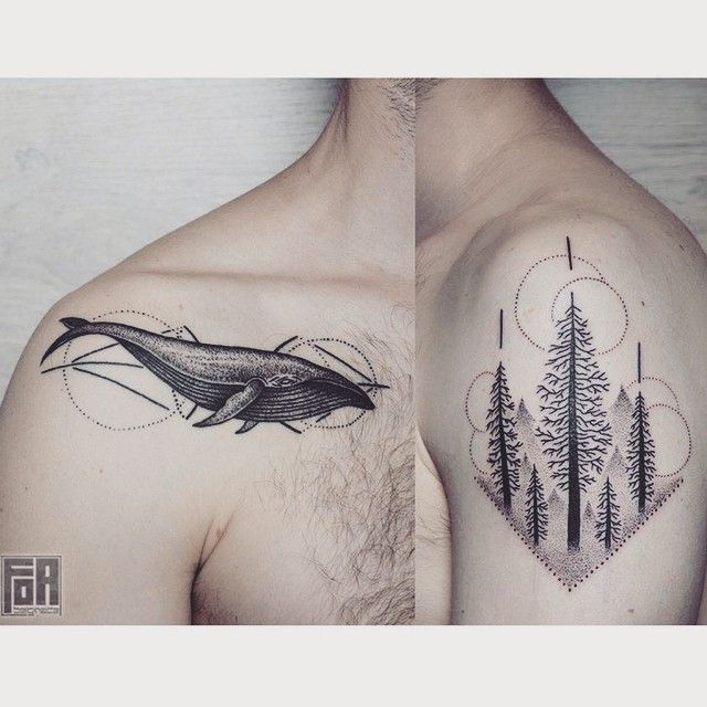 Whales & trees by @who.says.ni #tattoo #dotwork #dotworktattoo #blacktattoo #blackwork #whale #whaletattoo #dotworkwhale #trees #forest #treetattoo #foresttattoo #geometry #geometrictattoo