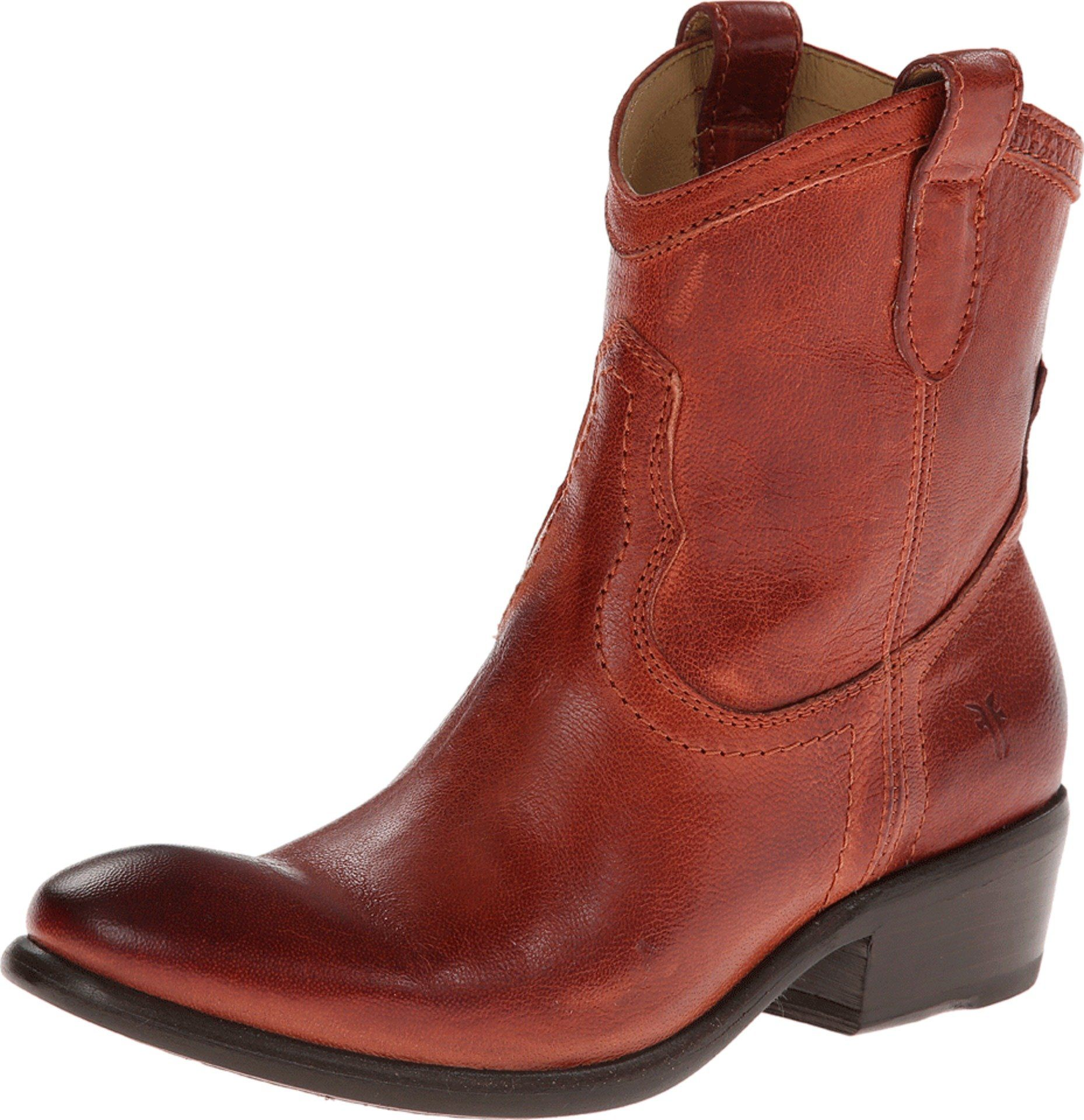FRYE Women's Carson Shortie Ankle Boot, Burnt Red Washed Antique Pull-Up,  5.5
