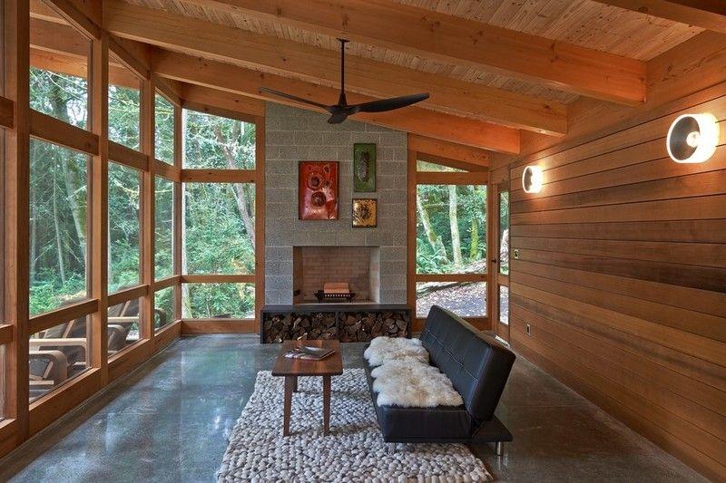 brennholz-lagern-moderne-gestaltungsidee-haus-wald | wohnideen ... - Brennholz Lagern Ideen Wohnzimmer Garten