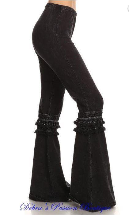 253b79b1f227c Chatoyant Mineral Wash Bell Bottom Soft Pants - Black Knee Tassel - Debra s  Passion Boutique - 1