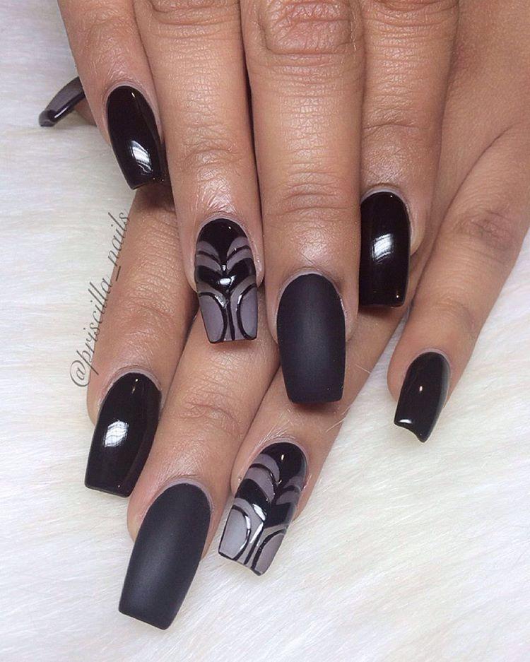 Black + Matte + Frosted Long Square Tip Nails #nail #nailart | Favs ...