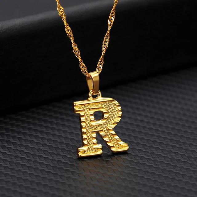14k Gold Plated Initial Letter Necklace For Men Women A Z Alphabet Pendant Necklace Gold Letter Necklace Initial Necklace Gold Letter Necklace