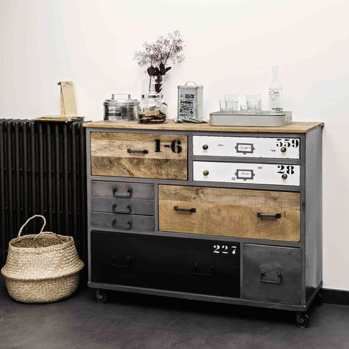 kommode auf rollen aus mangoholz und metall marcel pinterest. Black Bedroom Furniture Sets. Home Design Ideas