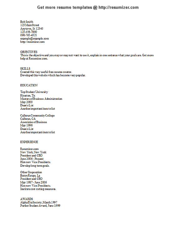 resumizer com ascii resume template resume templates pinterest