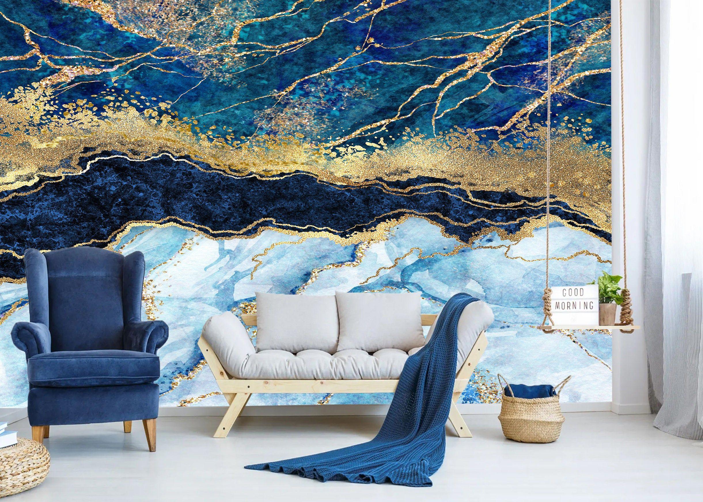 Peel Stick Marble Wallpaper Navy Blue Abstract Glitter Print Etsy Blue Wall Art Navy Blue Walls Navy Blue Wall Art