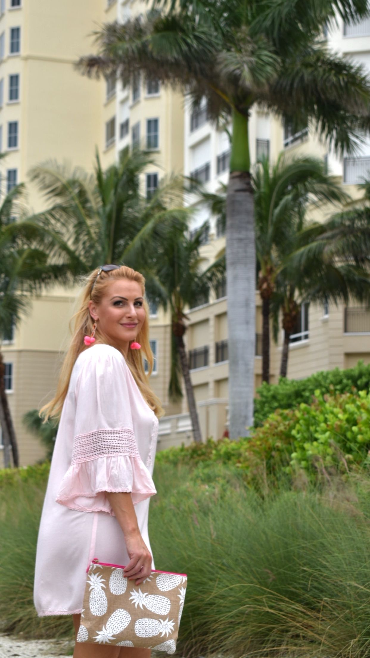 Street2BeachStyle – Pink Dress with Bell Sleeves, Pink Pom Pom ...