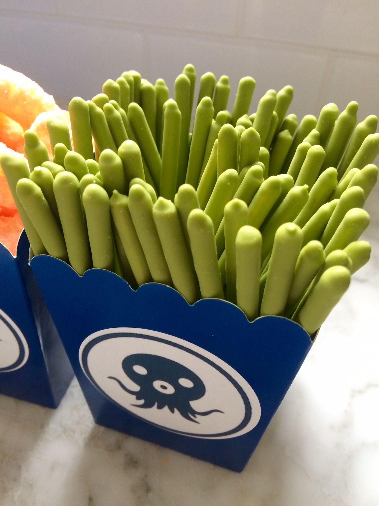 octonauts themed birthday party green tea pocky (looks like sea ...