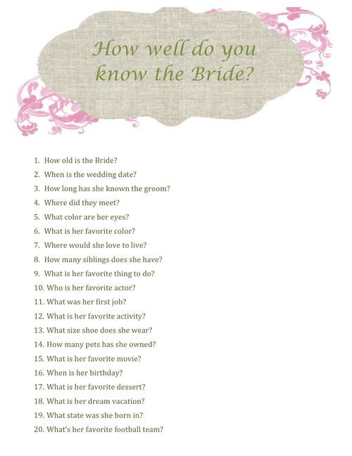 The Sparkled Life Bridal Shower Printable How Well Do You Know Bride Questionnaire