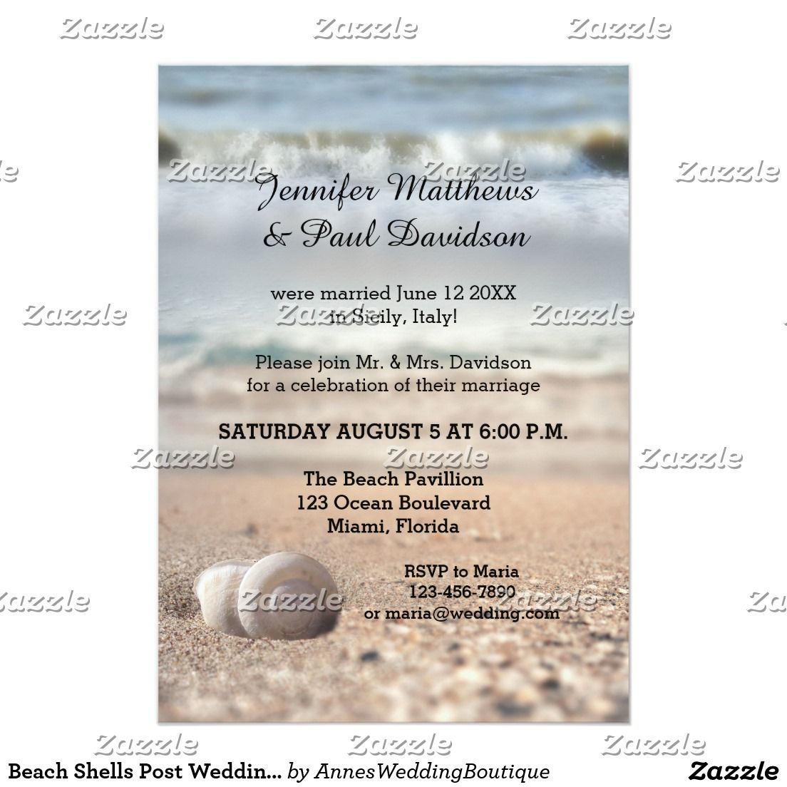 Beach Shells Post Wedding Party Invitation
