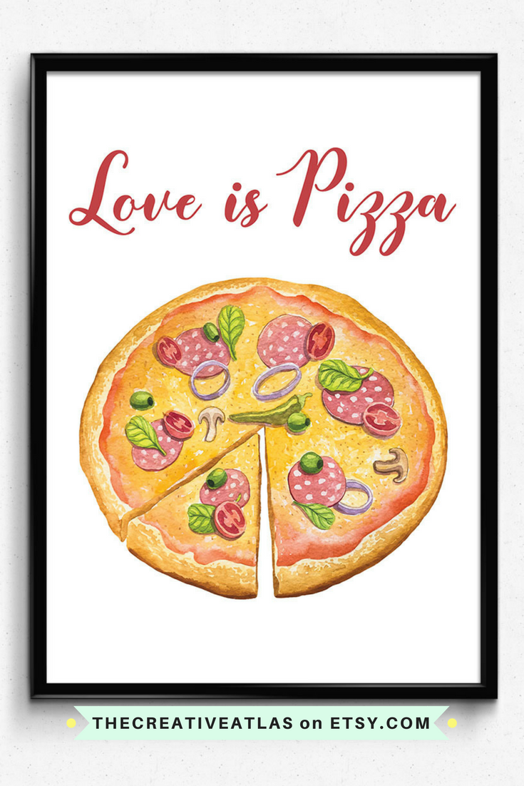 Pizza printable quotes digital download illustration wall art gifts ...