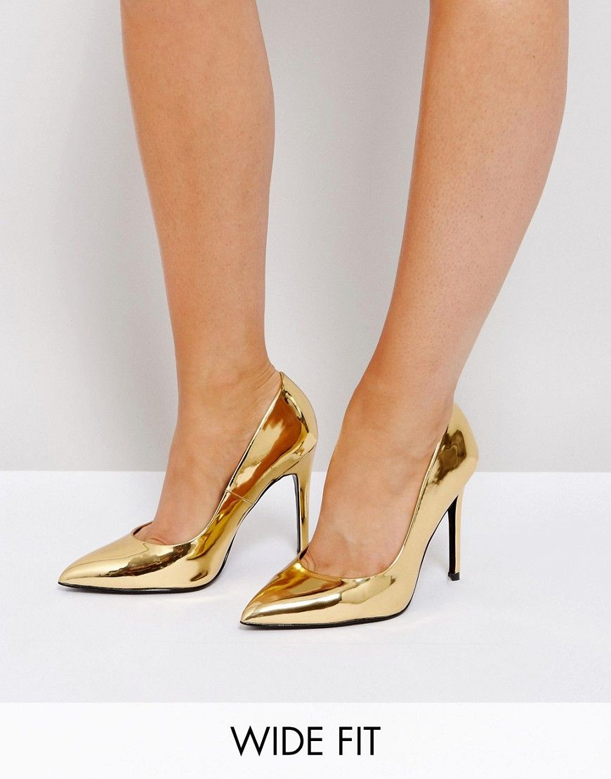 a8989c02a0 ASOS PARIS Wide Fit Pointed Heels - Gold | Products | Wide shoes ...