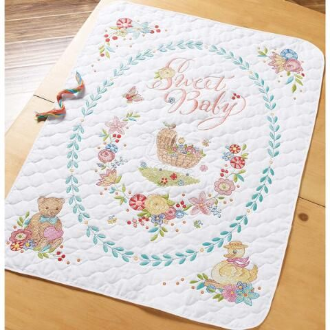 Bucilla® Sweet Baby Quilt Stamped Cross-Stitch Kit Was: $49.99 Now ... : kits for baby quilts - Adamdwight.com