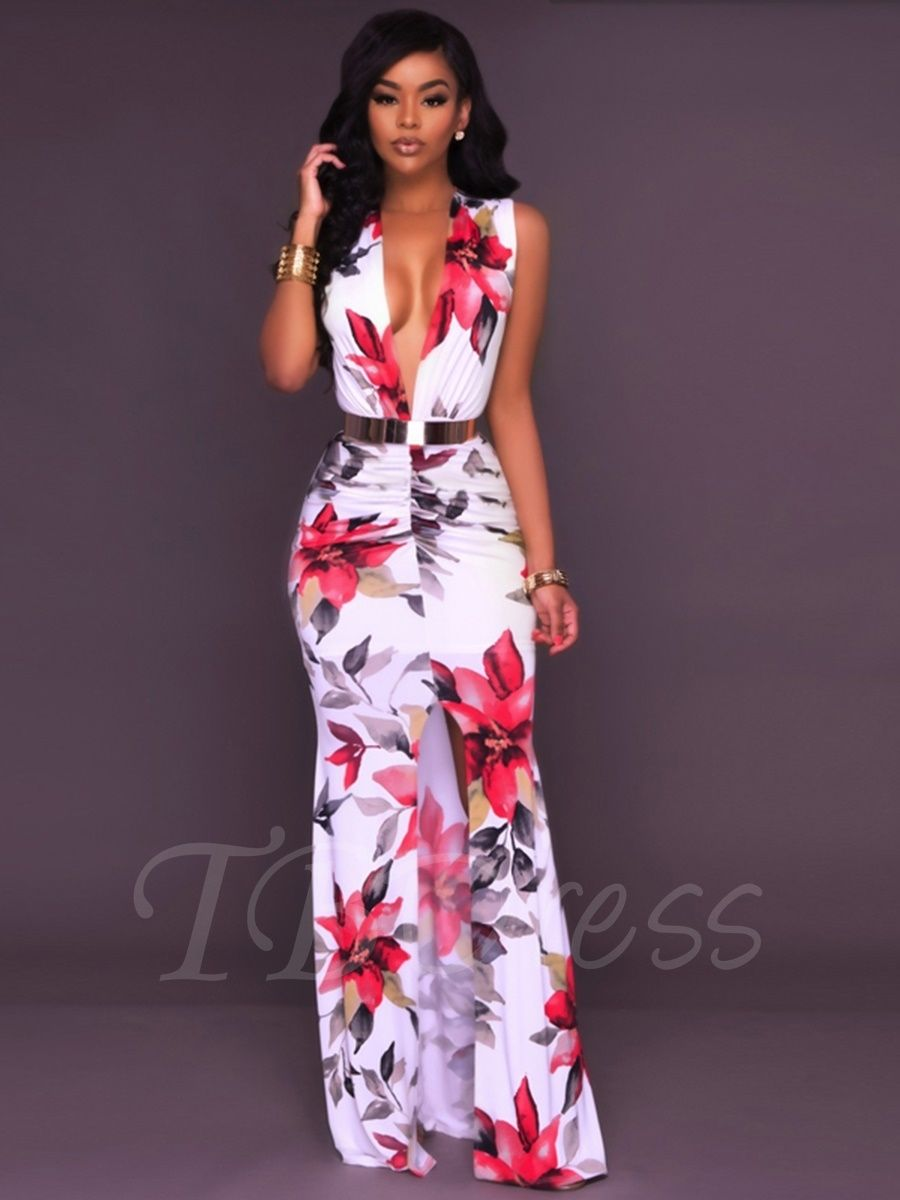 a6b3a96af98 Tbdress.com offers high quality Zipper V-Neck Floral Bodycon Women s Maxi  Dress Maxi Dresses unit price of   19.99.