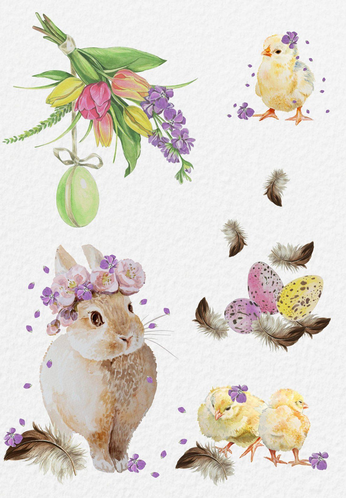 Easter watercolor. Clipart egg