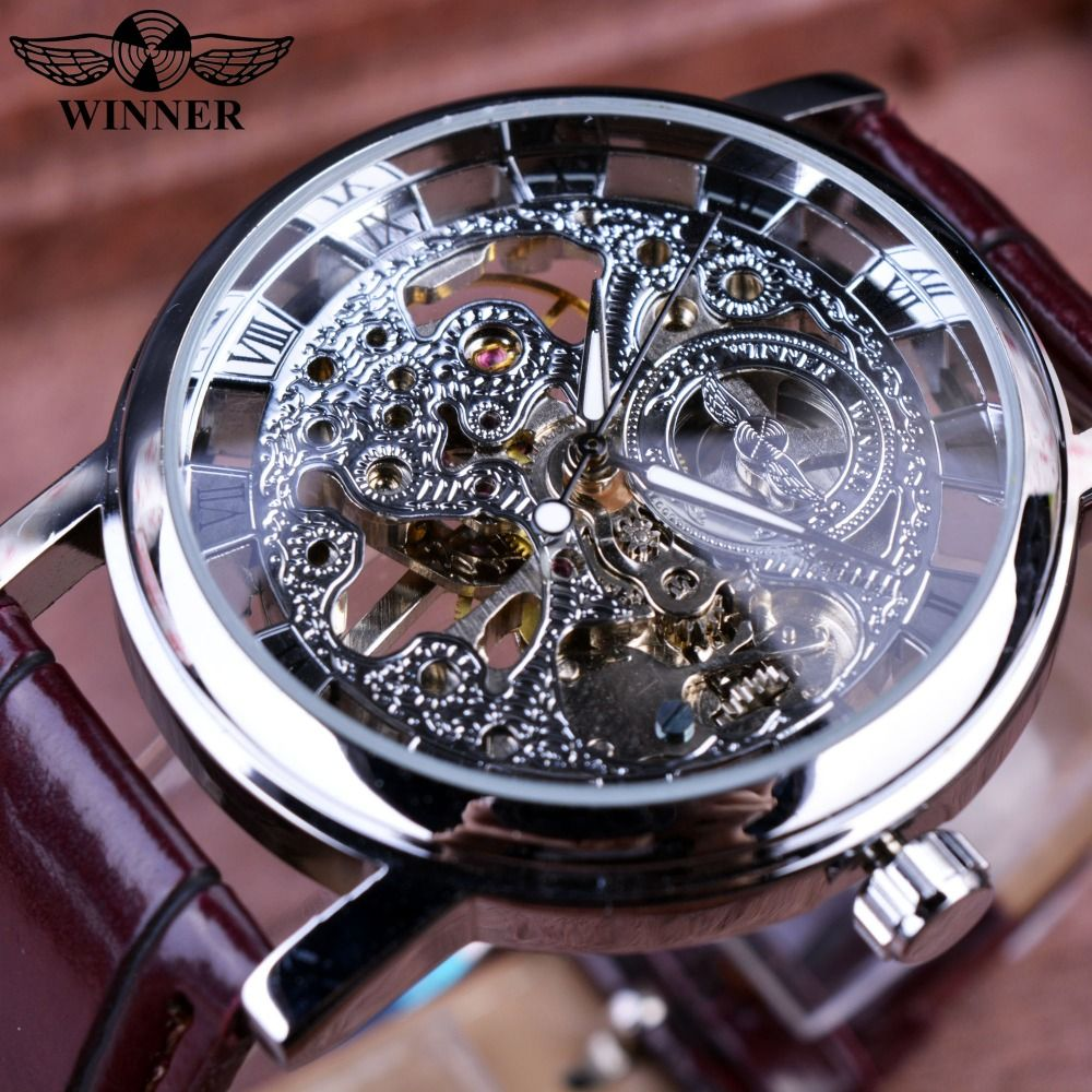 8e7402a2632 Winner Royal Carving Skeleton Brown Leather Strap Silver Case Transparent  Case Men Watch Top Brand Luxury Mechanical Watch Clock  Affiliate