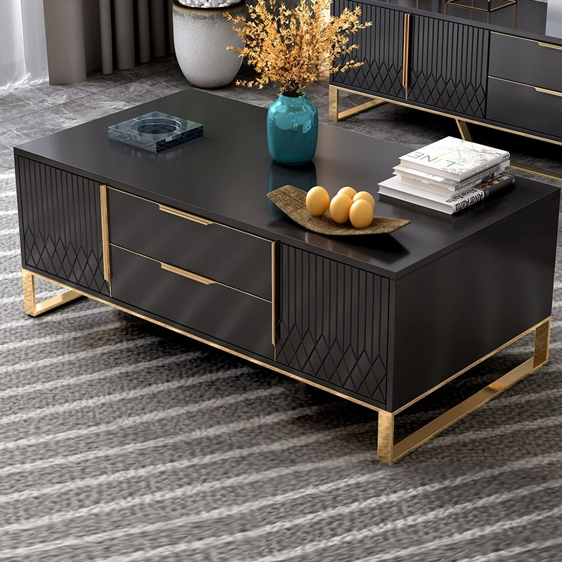 Aro White Black Coffee Table With Storage Rectangular Coffee Table With Drawers Doors In Gold Gold Living Room Decor Luxury Living Room Decor Black And Gold Living Room