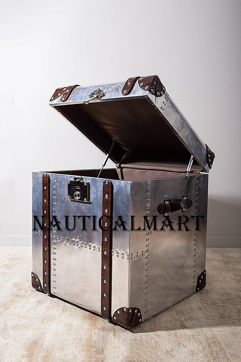 Cucina A Gas Amazon Nauticalmart Industrial Trunk Style Silver Chest Vintage Storage