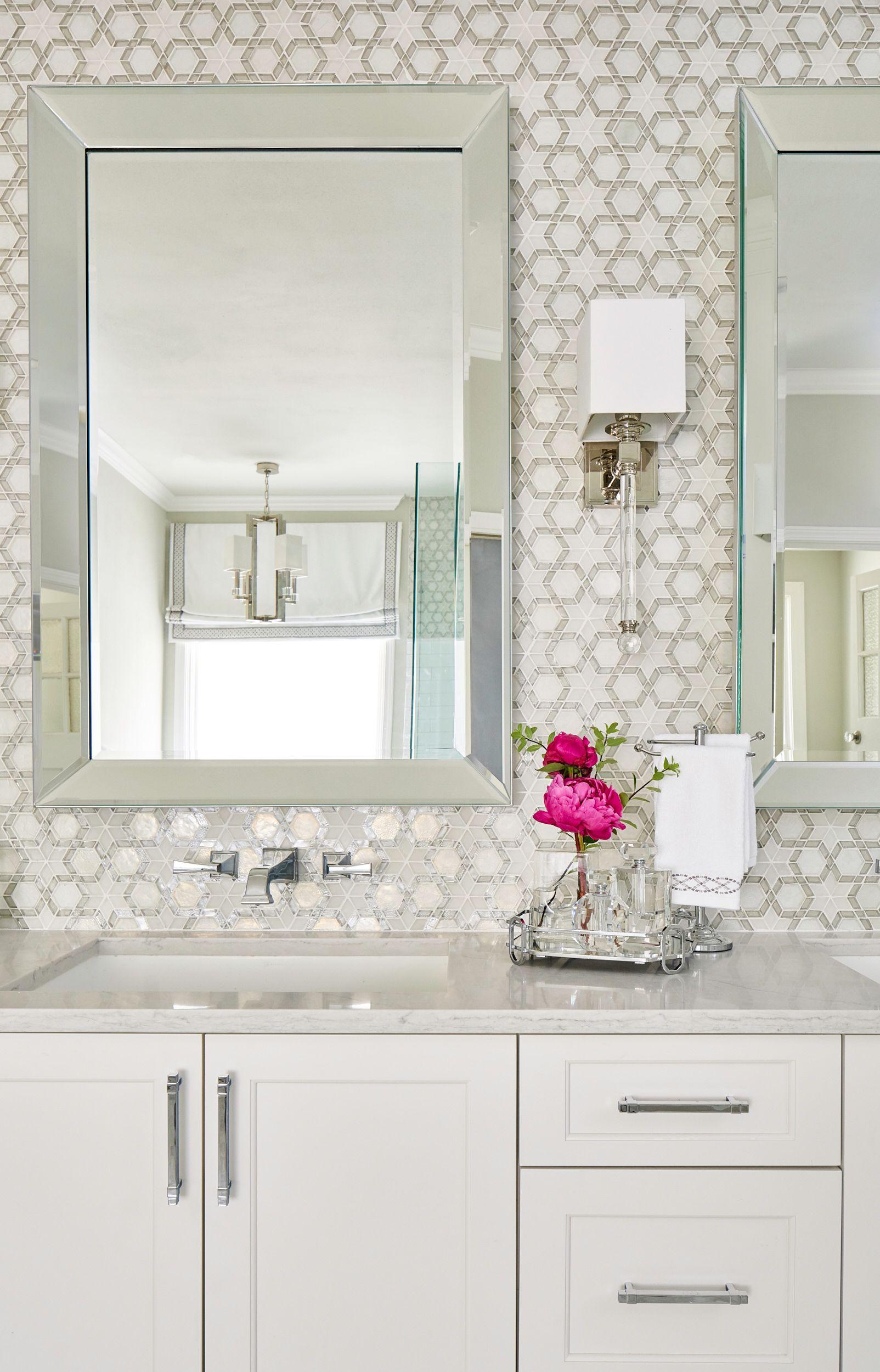 Serene Master Bath with beautiful Oceanside custom color Fez mosaic ...