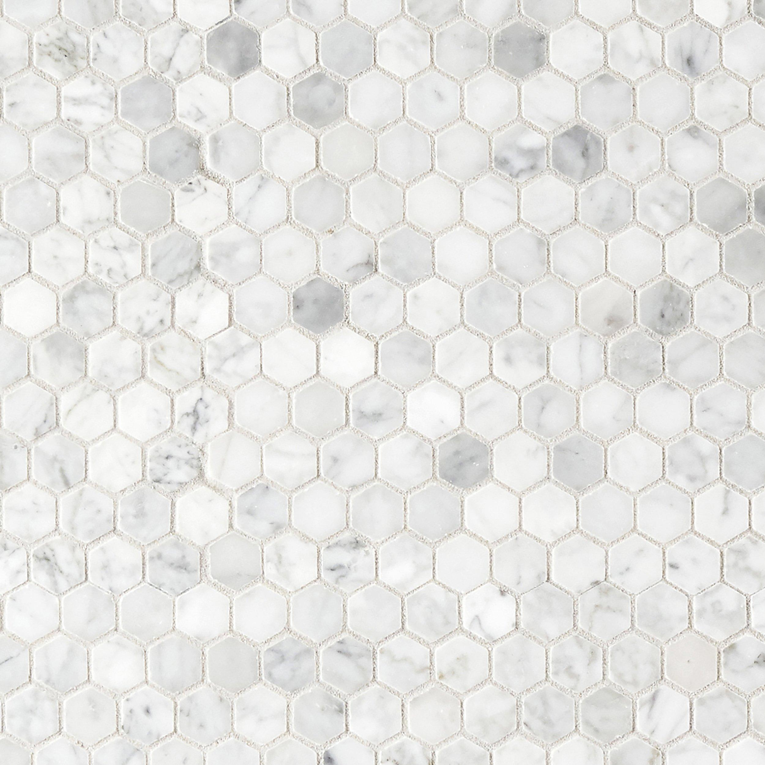 Bianco Carrara Polished Hexagon Marble Mosaic In