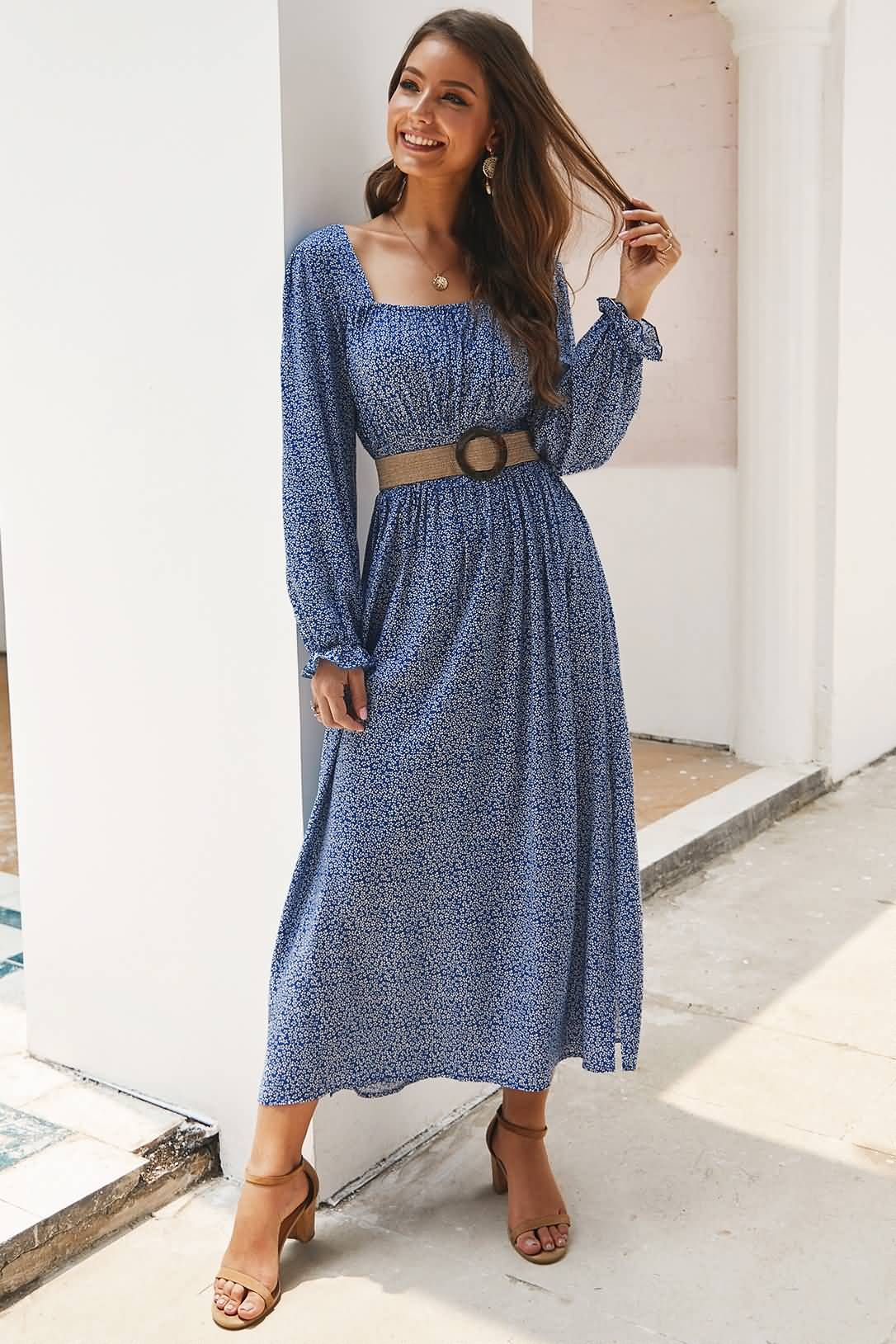 Blue casual square neck long sleeve floral print maxi