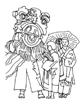 Celebrate Chinese New Year With Lion Dance Coloring Page Ancient China Dance Coloring Pages New Year Coloring Pages