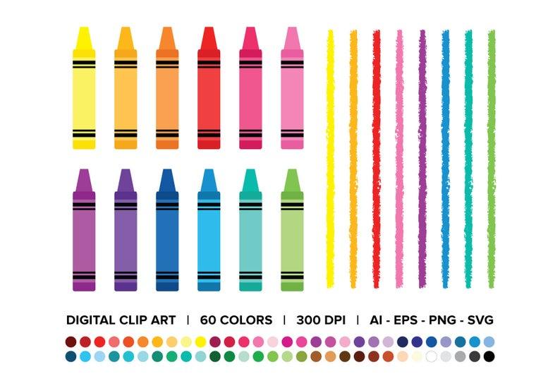 Crayon Divider Clip Art Set Png Svg Vector Blank Color Etsy Clip Art Clip Art Borders Art Set
