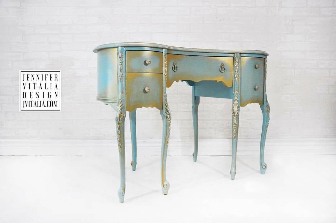 Vintage MakeUp Vanity Teal and Gold Queen Anne French Antique Custom Order & Finish - Hand Painted Make Up Vanity French Romantic