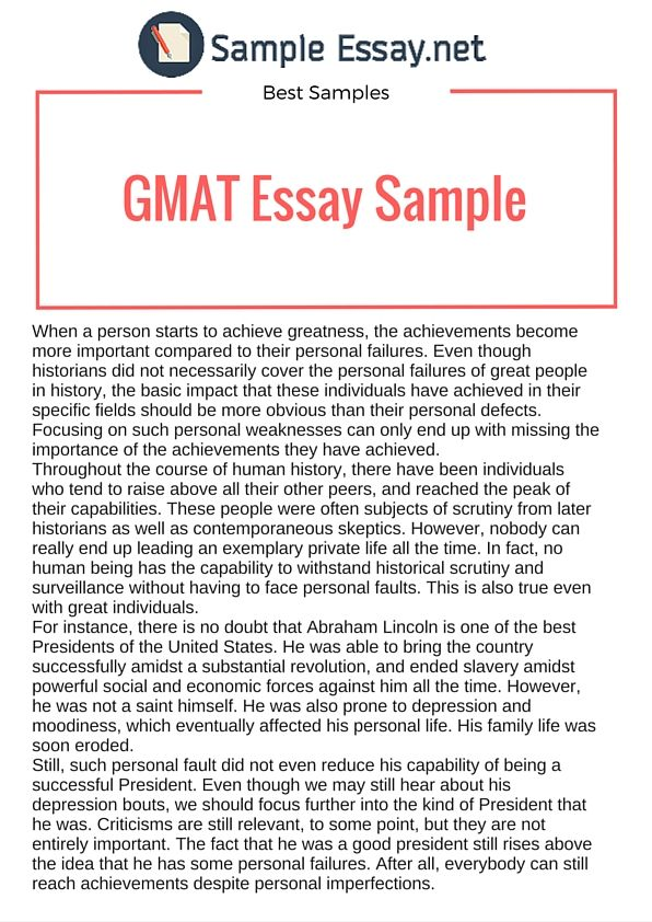 Pin By Sample Essays On Gmat Essay Examples    Essay