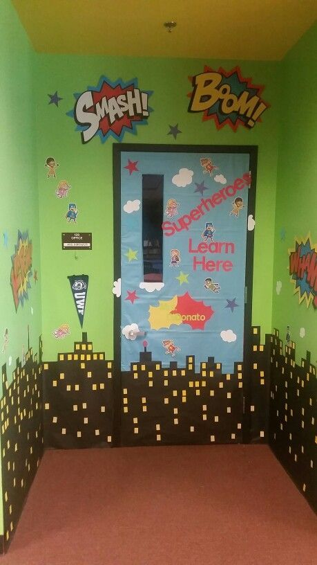 I made this superheroe door decor for the classroom door for Art room door decoration