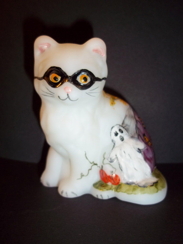 Mosser Glass Halloween Persian Cat Kitten Hp Mask Ghost Haunted House Pumpkins Cats And Kittens Persian Cat Adorable Kitten