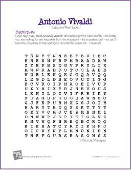 Antonio Vivaldi   Composer Word Search Worksheet - http ...