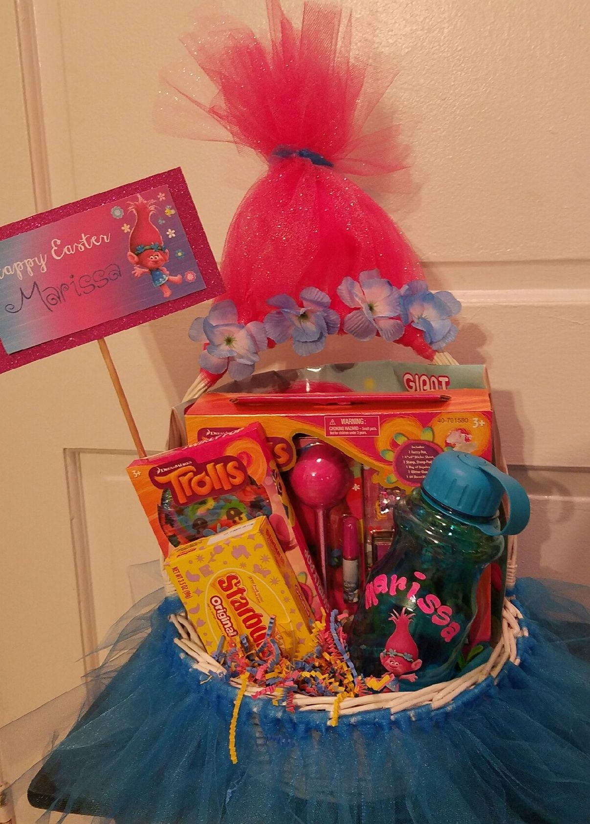 Gift Basket Personalized Smurf Gift Basket Made With Tulle Includes Water Bottle Coloring Book Stationary And Cand Coloring Books Gift Baskets Gifts