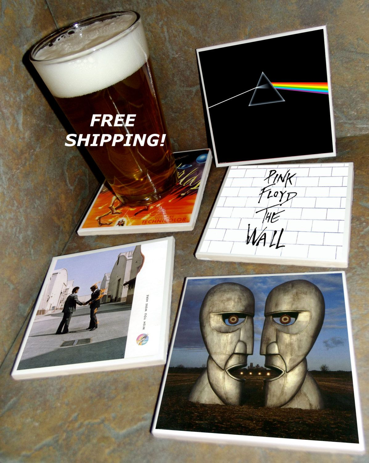 Pink floyd ceramic tile album covers coasters set of 4 free pink floyd ceramic tile album covers coasters set of 4 free shipping dark side dailygadgetfo Choice Image