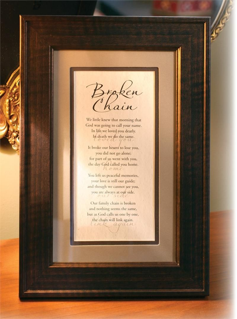 The Broken Chain Poem In Classic Traditional Frame Remembering A