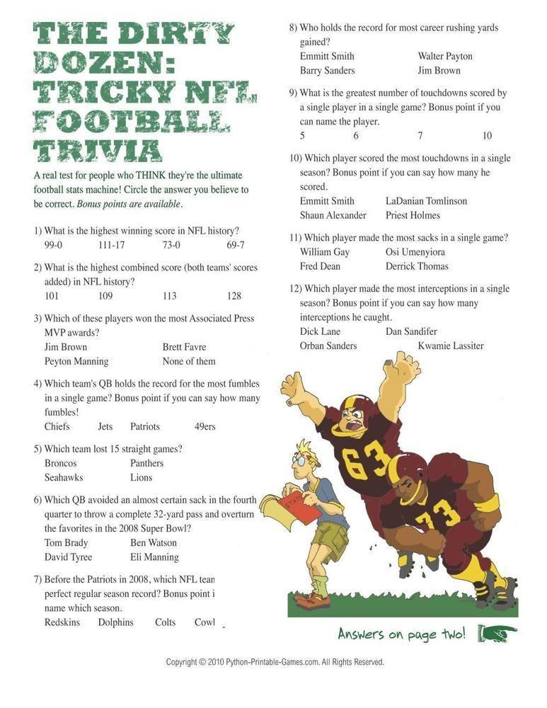 Super Bowl Dirty Dozen Trivia, 1.95 Superbowl party games