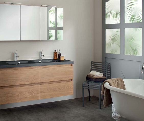 Modernisez votre salle de bain avec une vasque rectangulaire en - salle de bain meuble noir