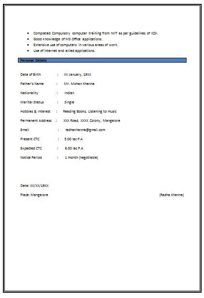 Company Resume Format Download | Resume Format and Resume Maker