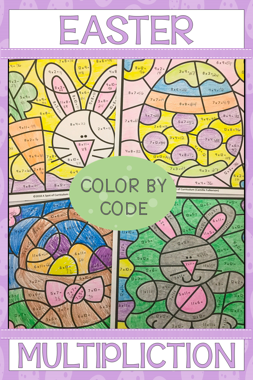 Easter Multiplication Color by Number   Easter math worksheets [ 1440 x 960 Pixel ]