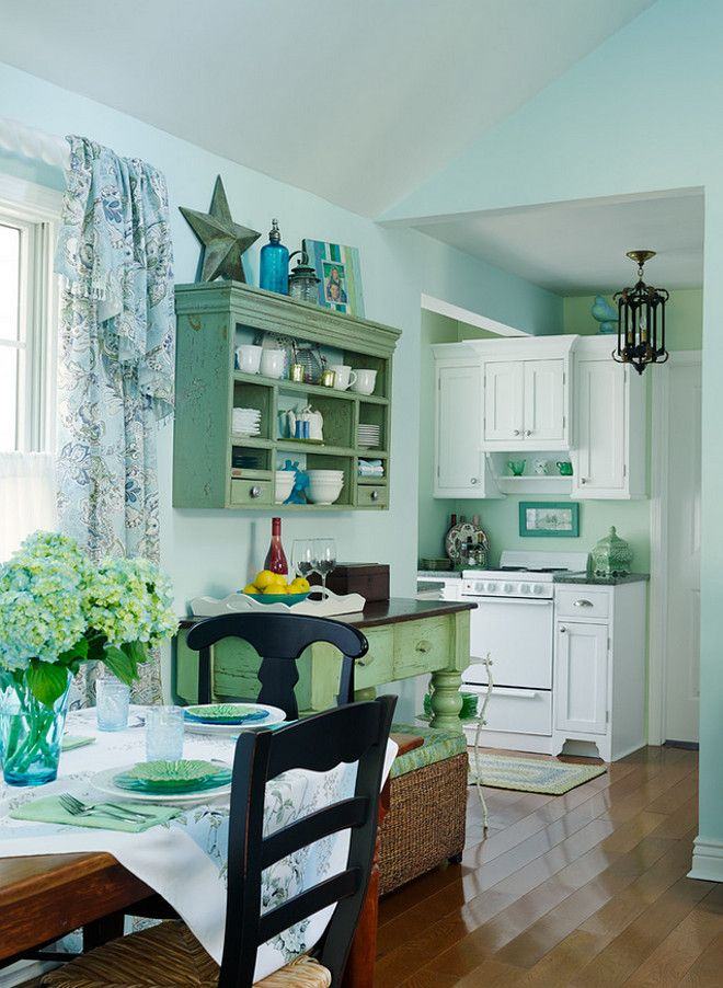 Tiny Functional Kitchen. Small Lake Cottage With Turquoise