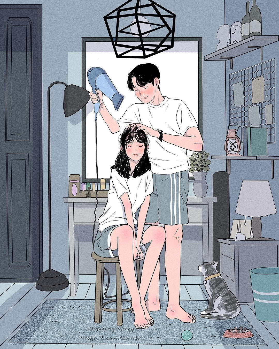 Sweet Magic: O cotidiano de um casal fofo na arte de Myeong Minho